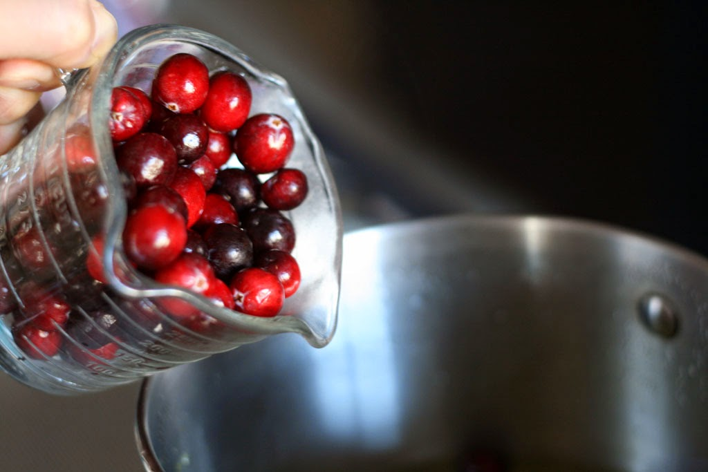 Pouring a cup of cranberries into pot.