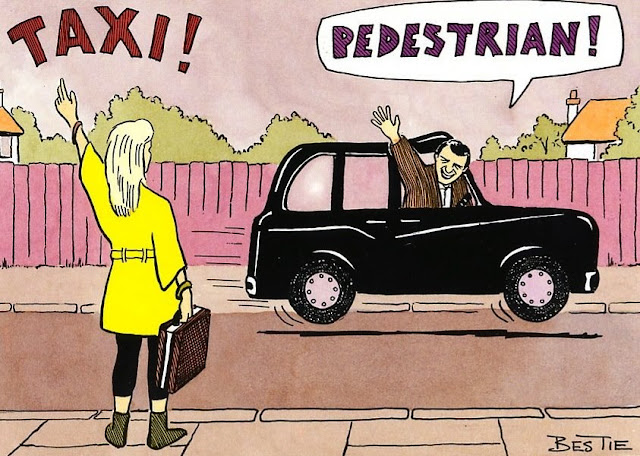 A girl waving for a taxi and calling it by name. the taximen waving back shouting back: pedestrian