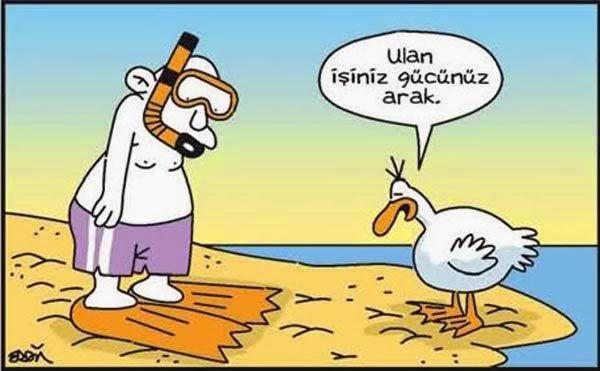 Ulan işiniz gücünüz arak ördek karikatür