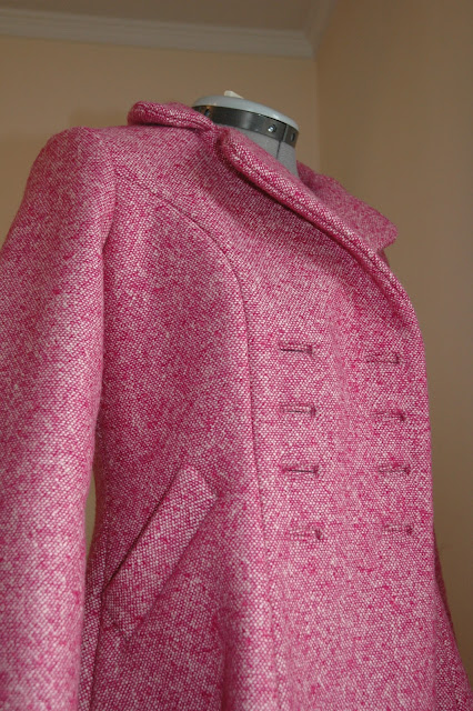 Dior coat pink vintage self-drafted pauline alice bound buttonholes welt pockets