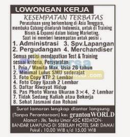 Jobs Lampung Graton WORLD, 8 September 2014