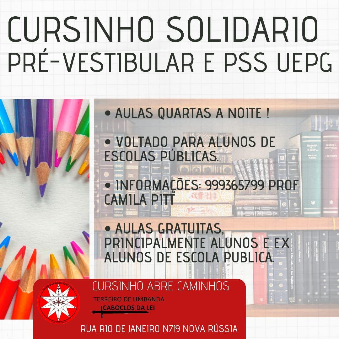 Inscrição para o Cursinho Pré Vestibular e PSS UEPG solidário Abre Caminhos. 2ºEdição