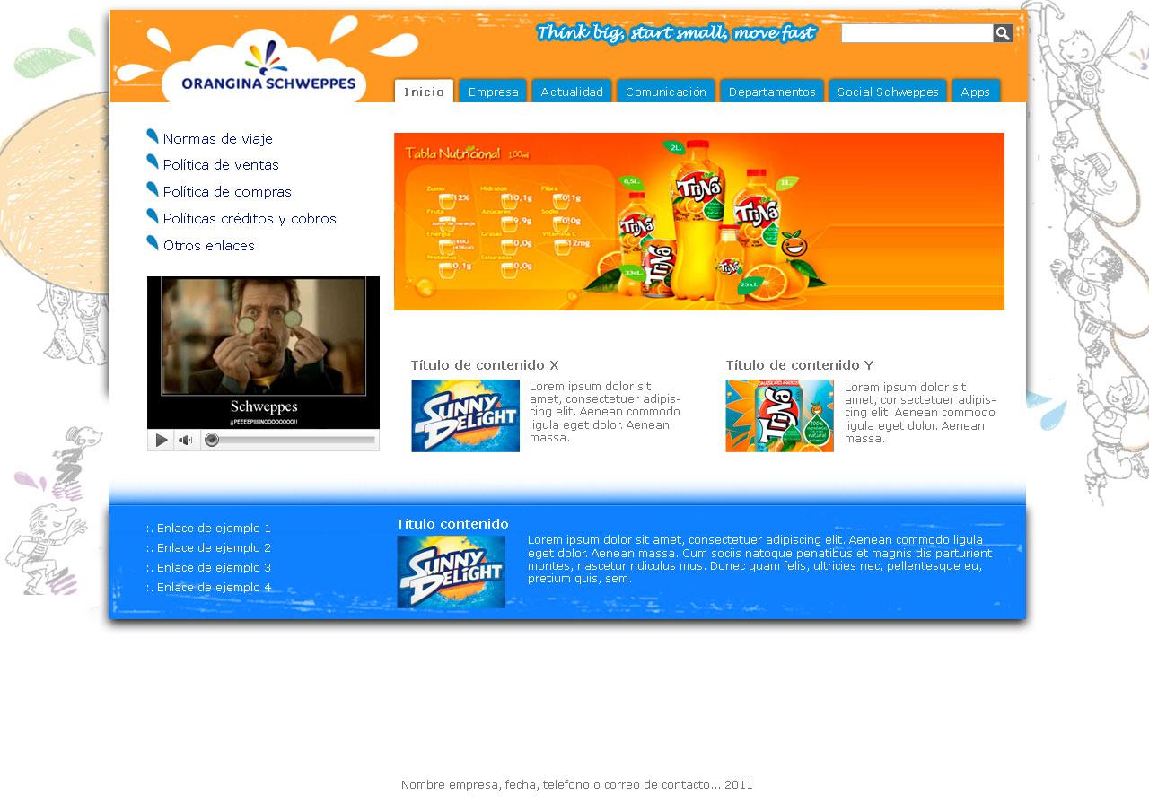 Diseños en Photoshop: Propuesta de diseño para intranet de Schweppes ...