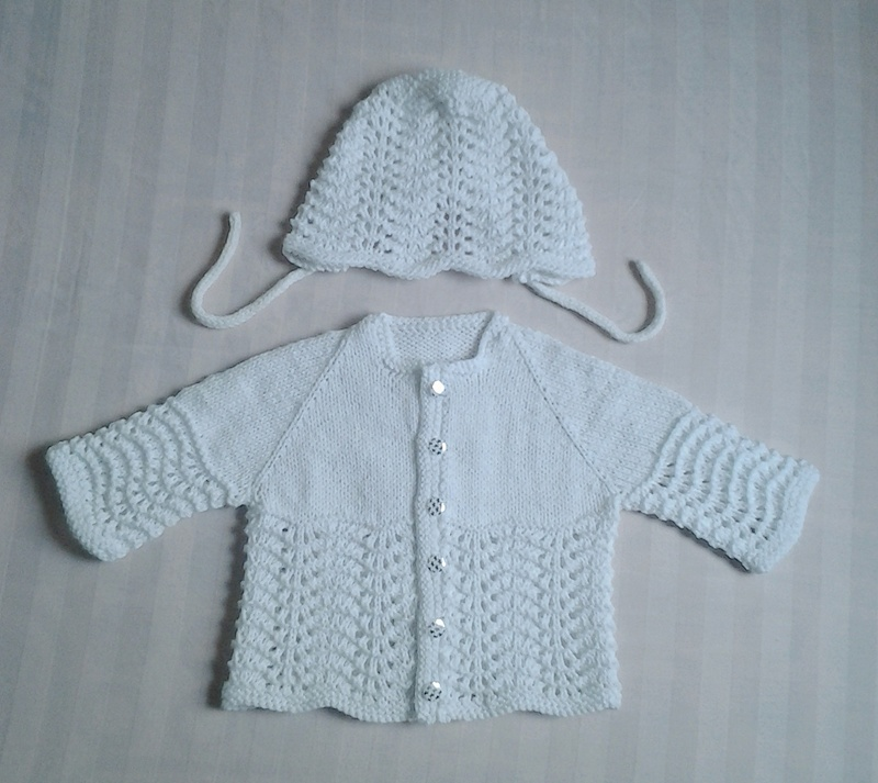Umme Yusuf: Feather And Fan Baby Sweater And Bonnet