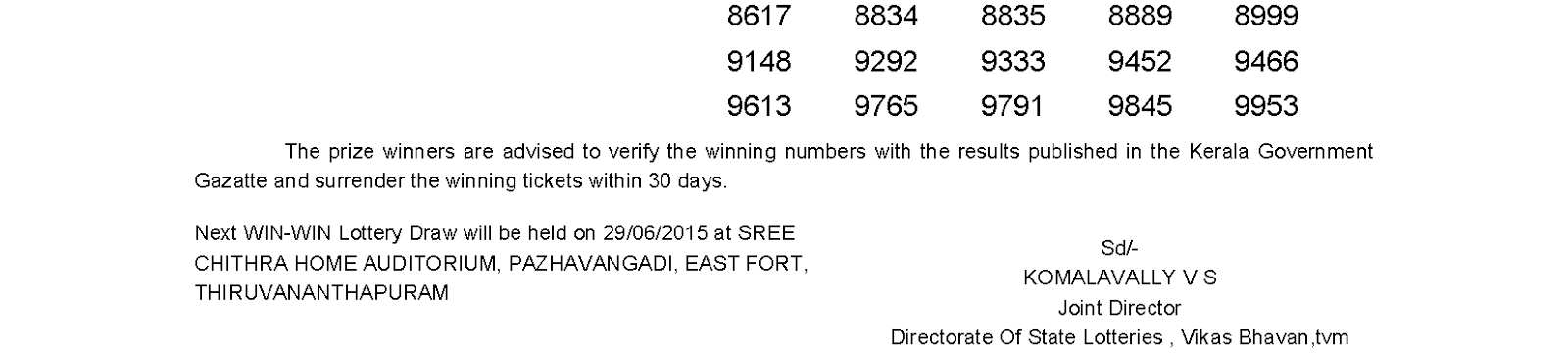 WIN WIN Lottery W 313 Result 22-6-2015