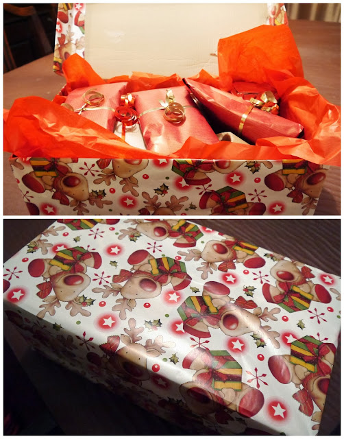 Secret Santa box wrapped up