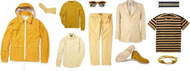 Look masculino com roupas amarelo