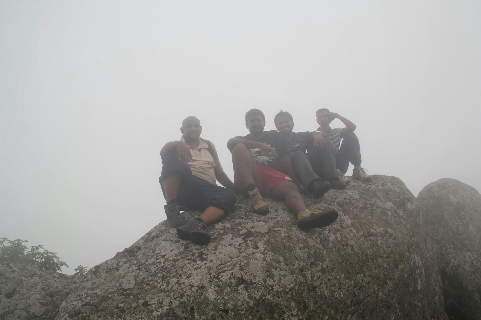 Dinesh, Soorya, Arif and Sridhar at Mahendragiri