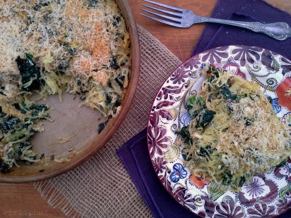 <b>Spaghetti Squash & Kale Gratin</b> {12 Weeks of Winter Squash}