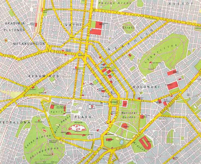 Simple map of Athens Greece