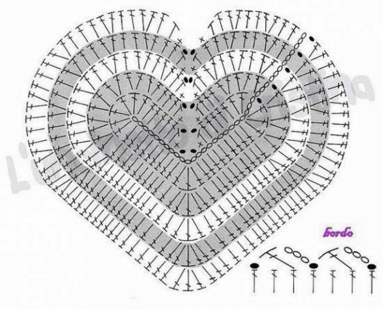 patrón corazón ganchillo