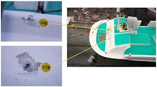 廣大興28號漁船船頭彈著點示意圖