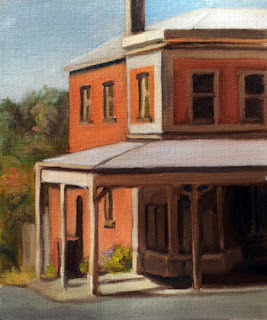 Oil painting of a red brick Victorian-era corner shop.