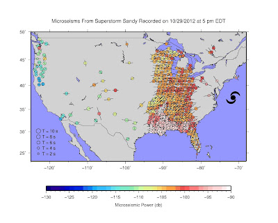 """This map, taken from a University of Utah video, shows colored dots to represent the locations of portable seismometers in the Earthscope array, which is funded by the National Science Foundation. Most are now located in the eastern part of the United States. Blue-green dots indicate low seismic activity, while yellow-orange-red dots indicate stronger seismic activity. The map shows that when superstorm Sandy turned west-northwest toward Long Island, New York City and New Jersey on Oct. 29, 2012, the seismometers """"lit up"""" because of ground shaking by certain ocean waves imparting energy to the seafloor. Credit: Keith Koper"""