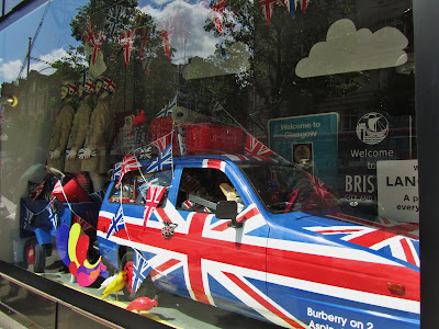 Selfridges Jubilee 2012 windows: Reliant Robin and the Union Jack