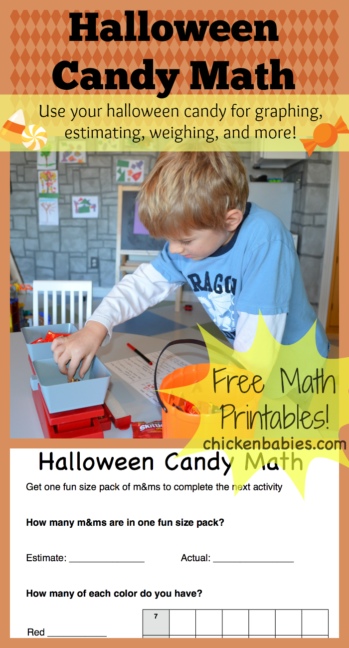 chicken babies: halloween candy math with free printables