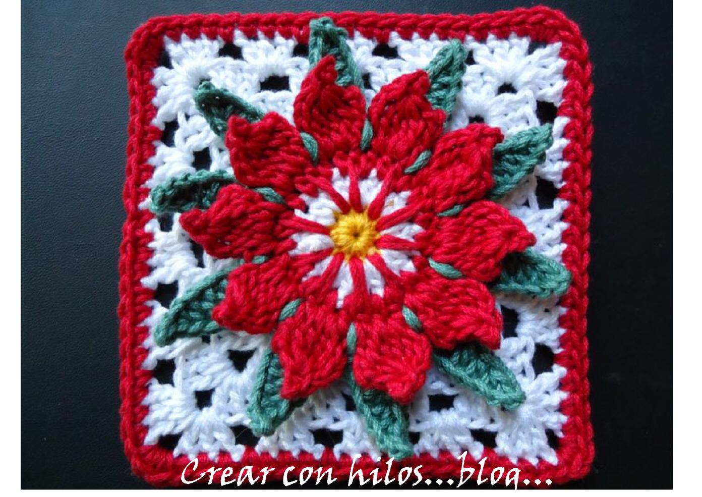 Big handmade granny flor de cactus cactus flower granny for Cactus navideno