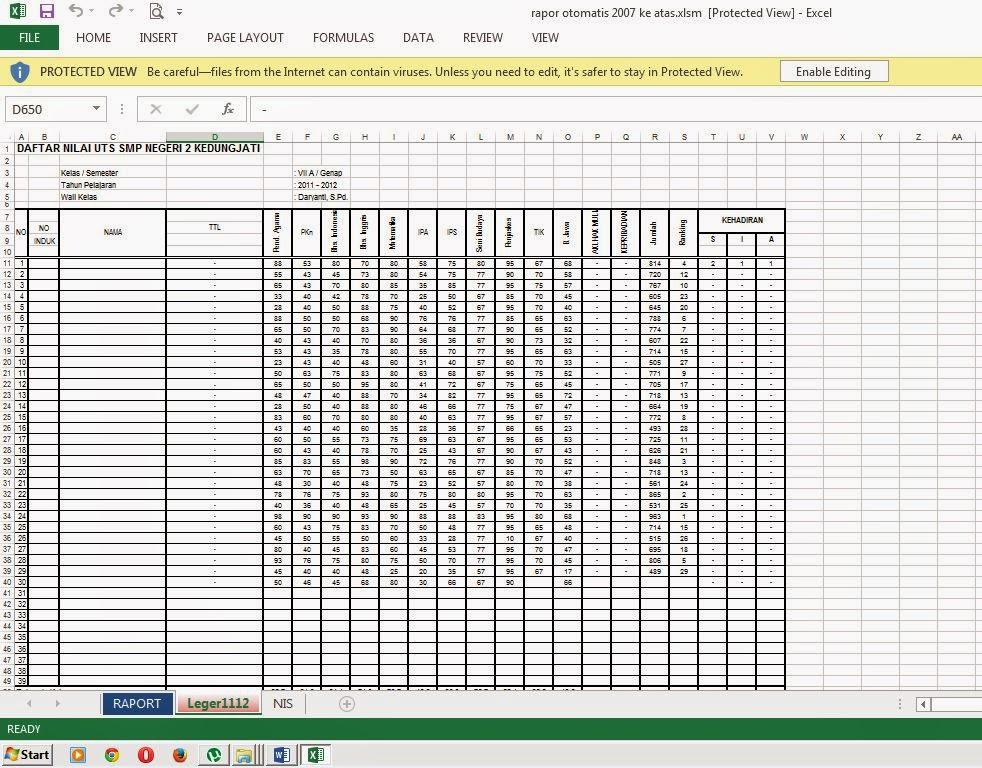 Raport Otomatis Smp Ktsp Format Exel Kurikulum 2013 Ptk Sd Ptk Smp Ptk Sma Pts Rpp