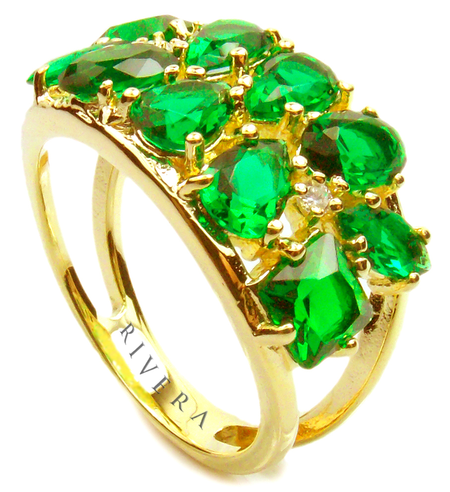 anel de pedras verdes naturais semijoia