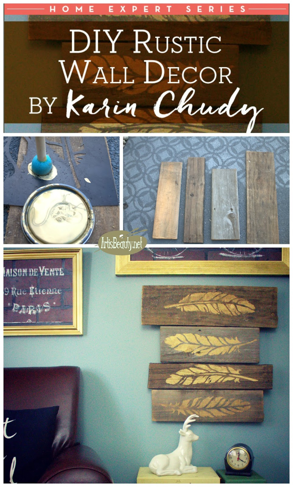 Homemade Rustic Wall Decor : Art is beauty diy gold feather autumn barn wood wall
