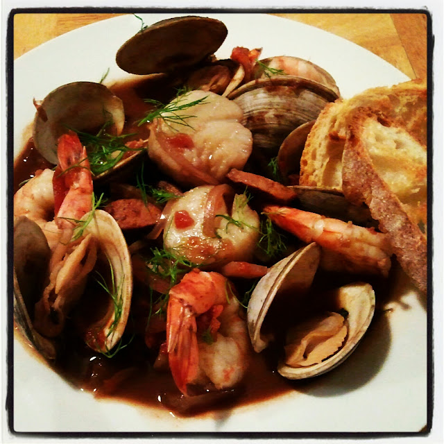 ... Smoky Shellfish Stew with Fennel and Chorizo and Garlicky Croutons