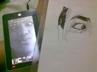 Cíntia Andrade - desenho com caneta esferográfica - detalhe olho