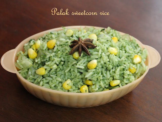 Cooking south indian recipes made easy palak sweet corn rice palak sweet corn rice preparation ccuart Choice Image