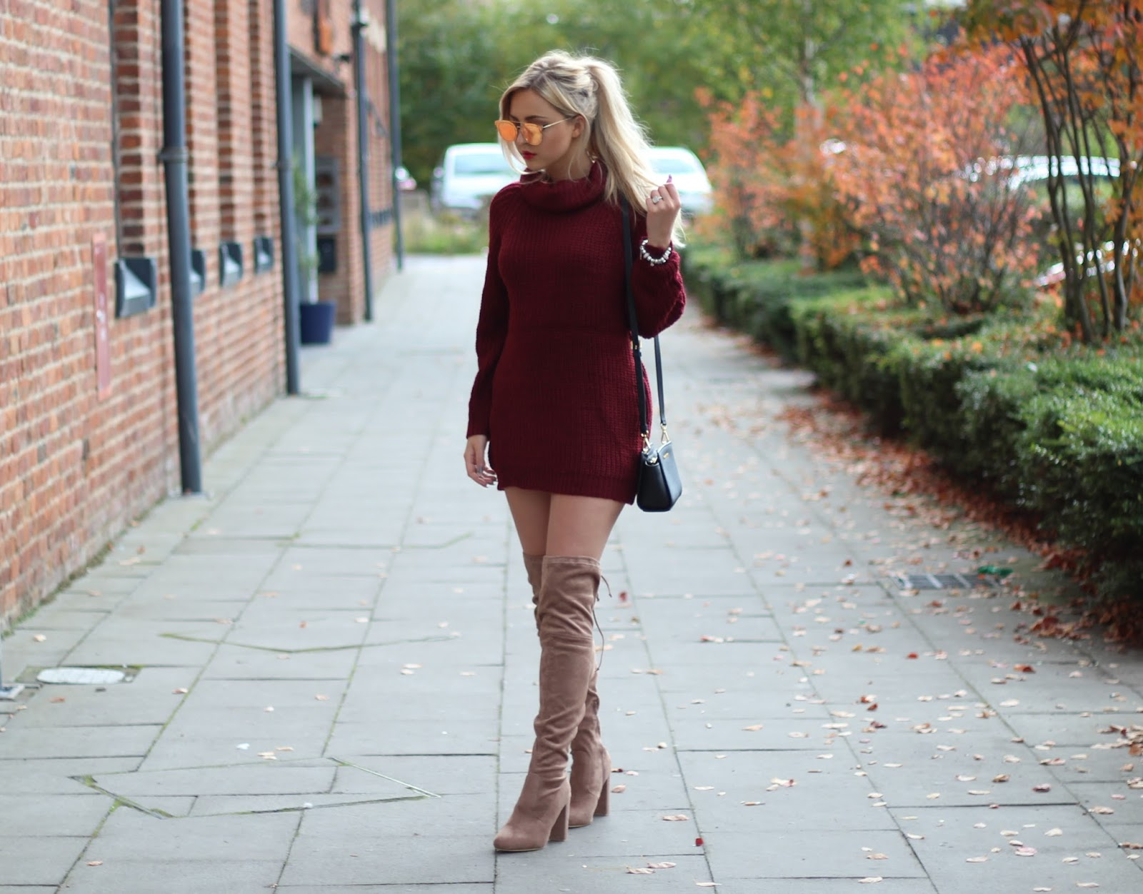 Autumn Style Jumper Dresses Knee High Boots Couture Girl