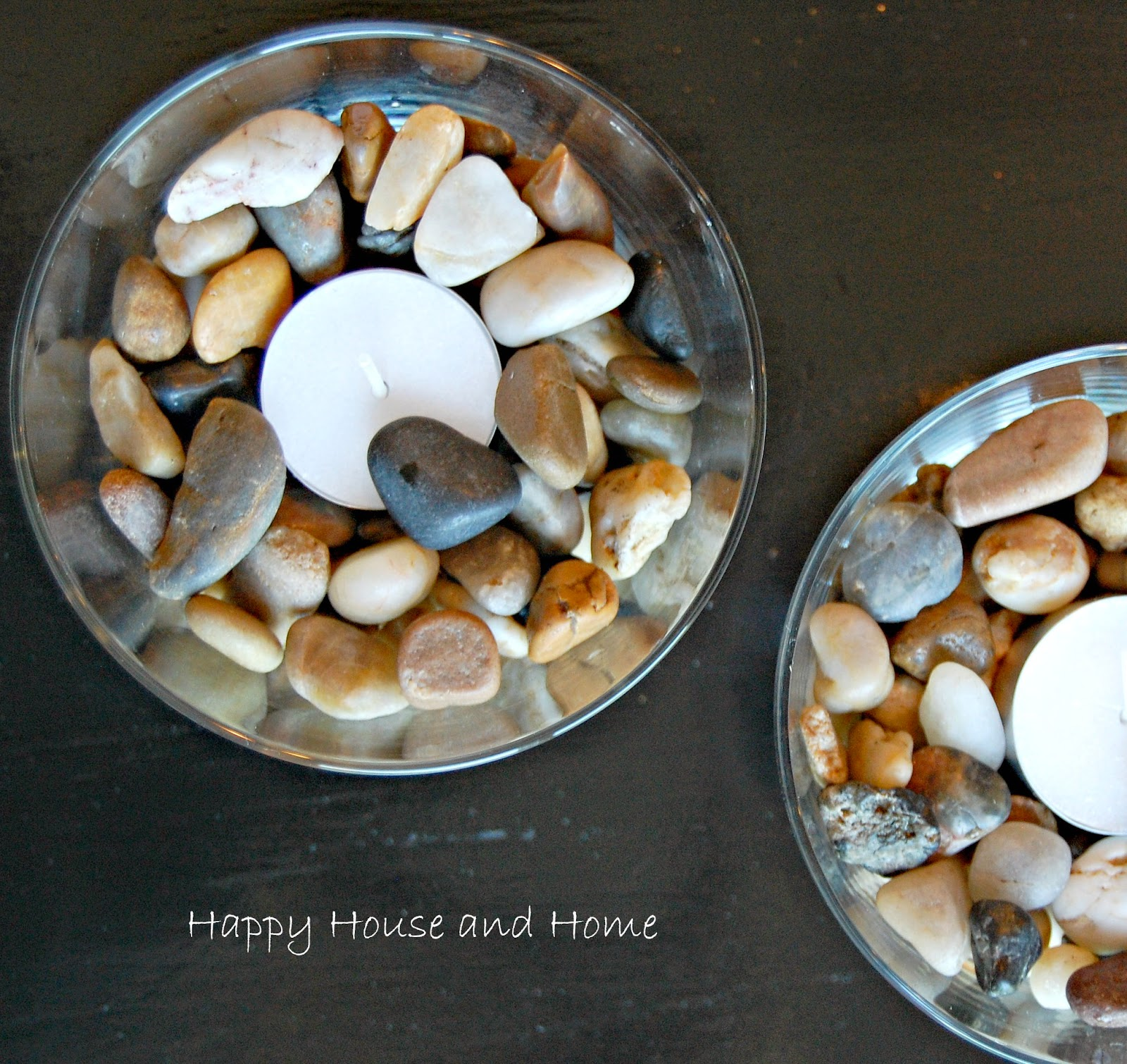 tea lights, river rock craft, make tea lights
