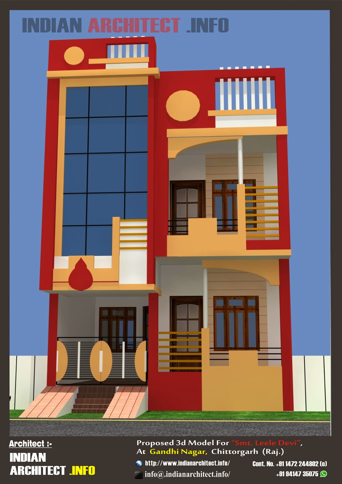 Floor Front Elevation Guide : Smt leela devi house  sqft floor plan and