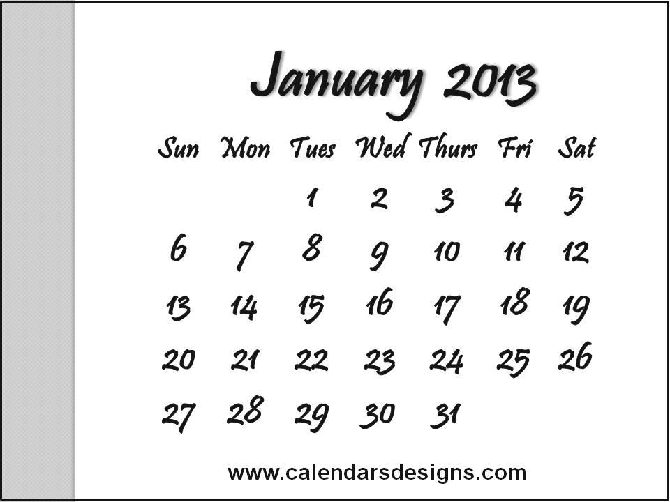 February 2013 Calendar Printable Free