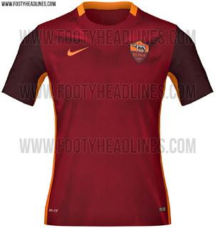 detail terbaru Bocoran jersey As Roma home terbaru musim 2015/2016