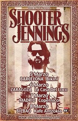 Conciertos de Shooter Jennings en Madrid, Barcelona, Bilbao y Zaragoza en marzo