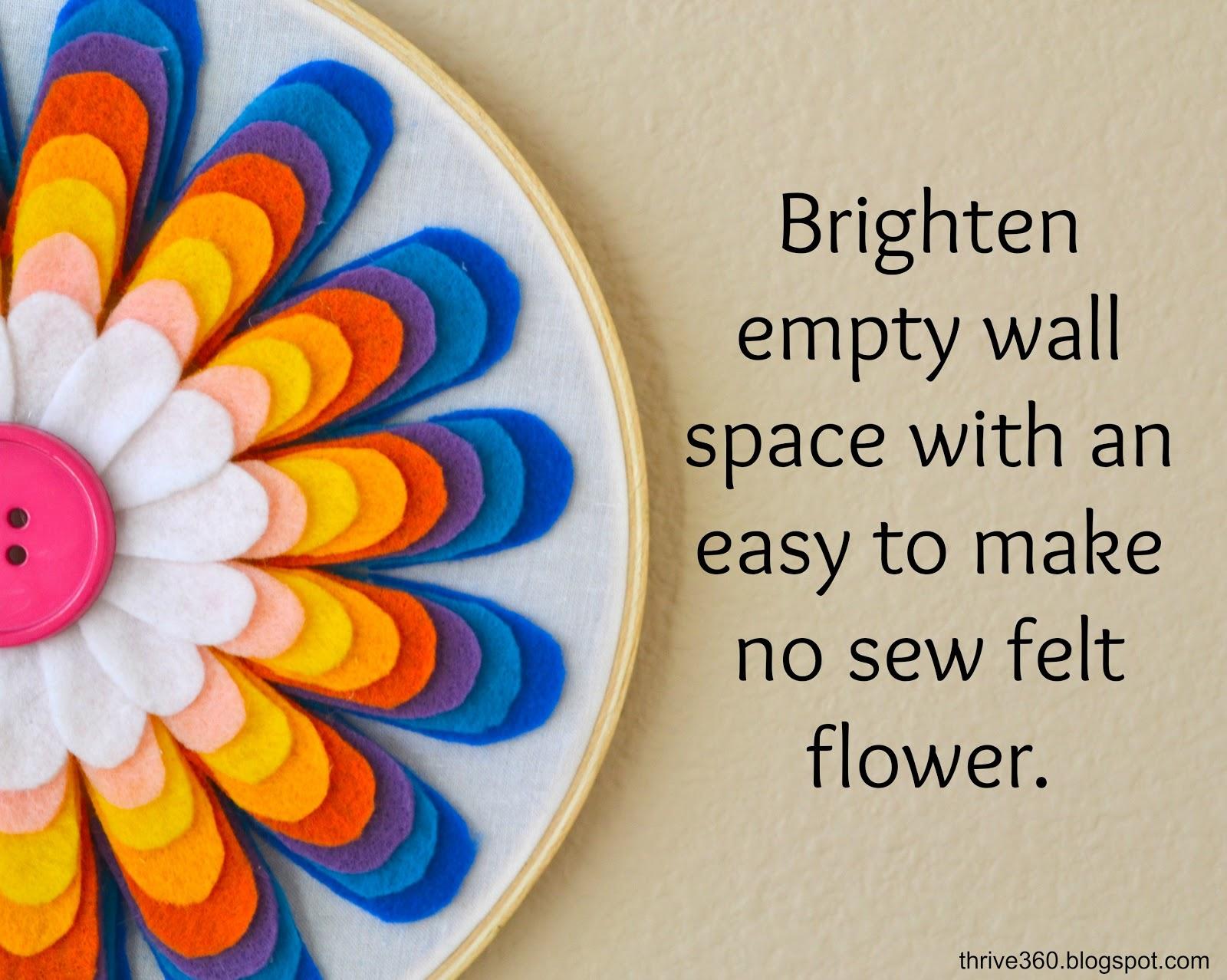 Diy Fabric Flower Wall Art : Thrive living diy felt flower wall art