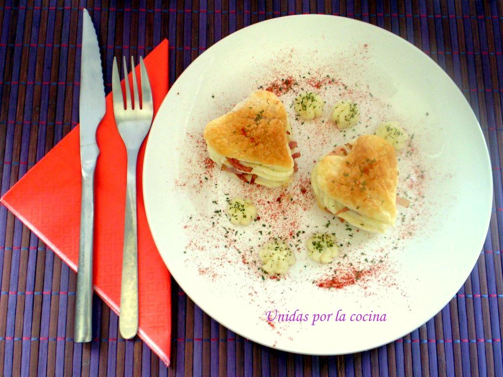Unidas por la cocina milhojas con pur de papas y bacon - Cena romantica ligera ...