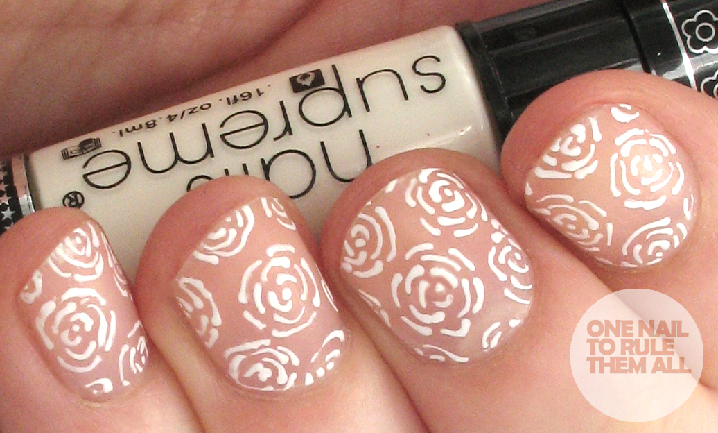 One Nail To Rule Them All: Generic rose and stripes design