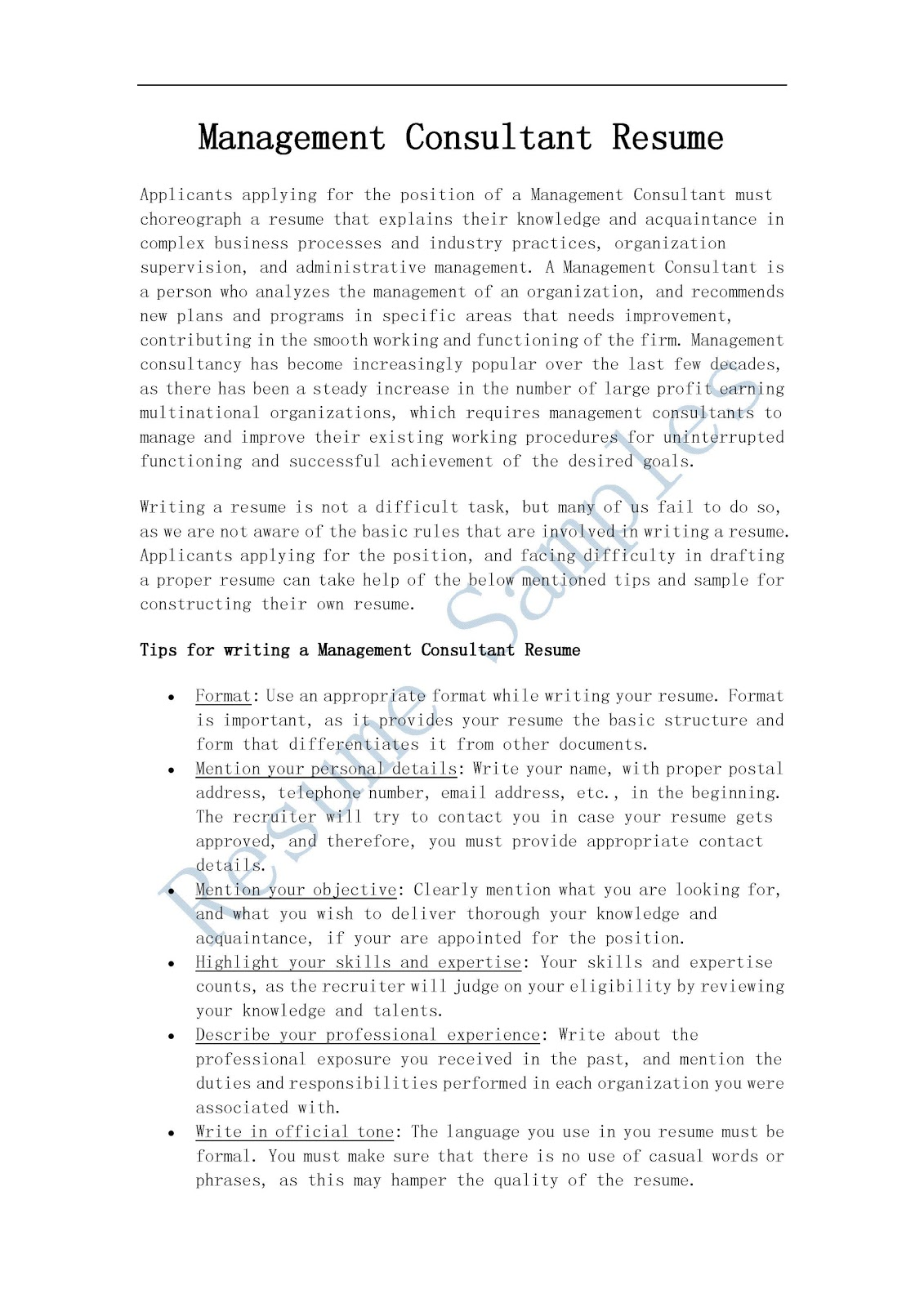 resume samples  management consultant resume