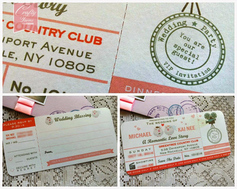 Greentree Country Club Wedding, New York, USA, Malaysia, Movie ticket themed wedding card