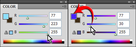 Choose color with dynamic color sliders turned on in Photoshop