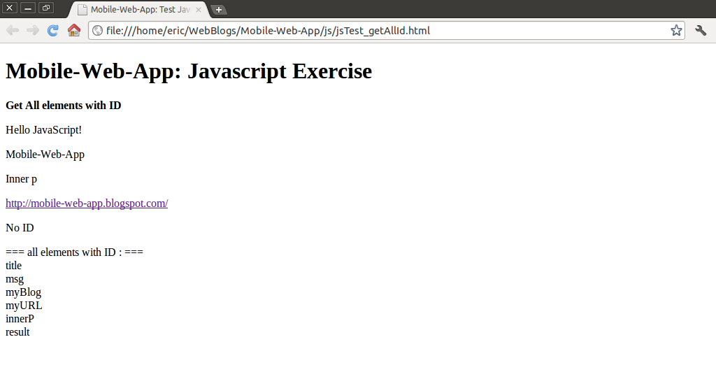 Mobile web app javascript code sample get all elements for Window onload javascript