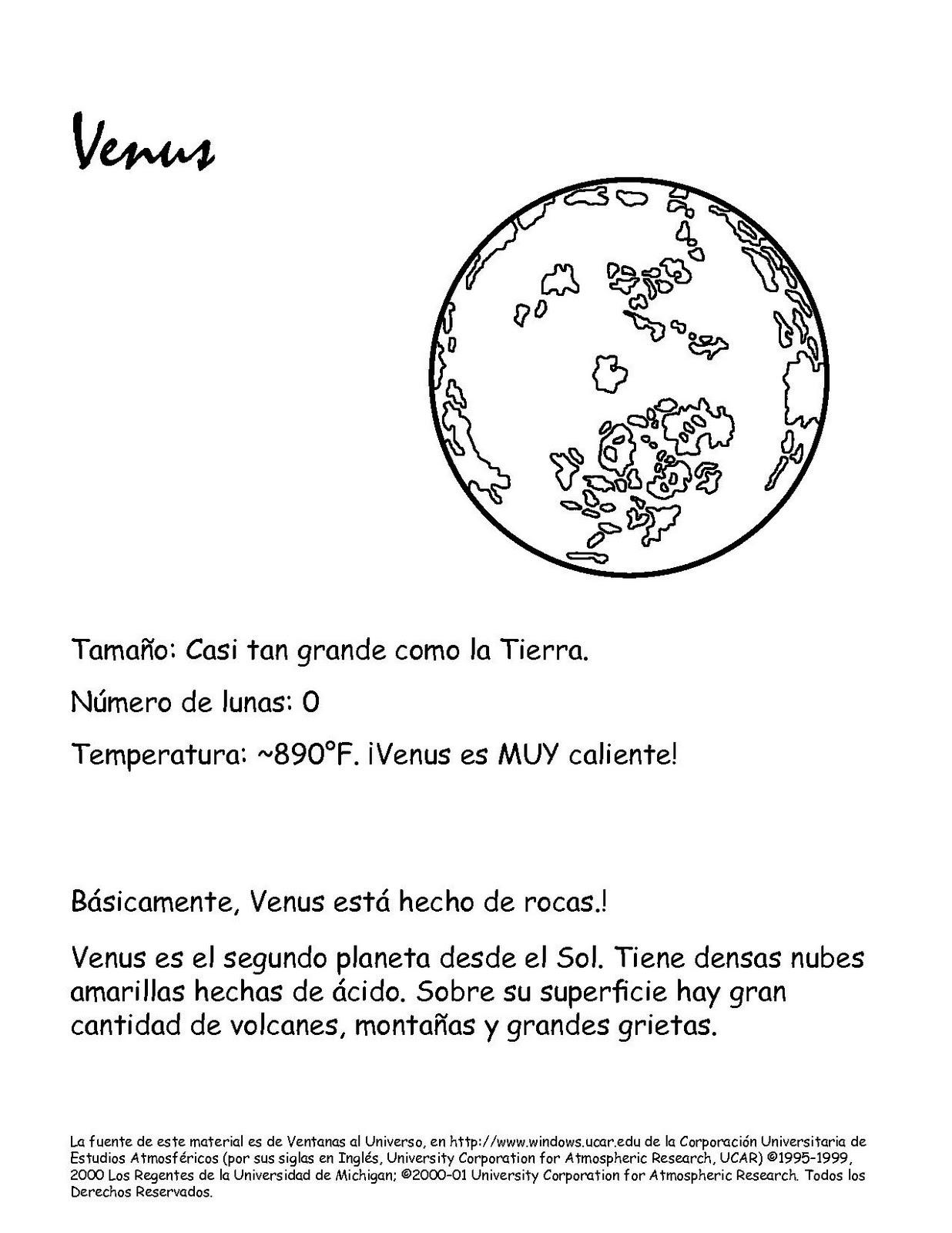 Portal Escuela Colorear el PLANETA VENUS y el sistema solar ...
