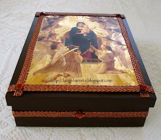 Caixa MDF decorada com imagens de Anjos