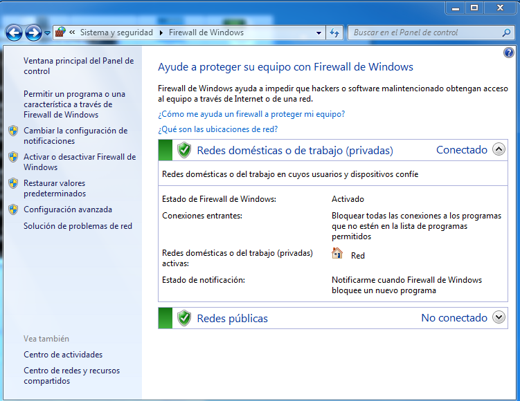 Firewall Windows 7