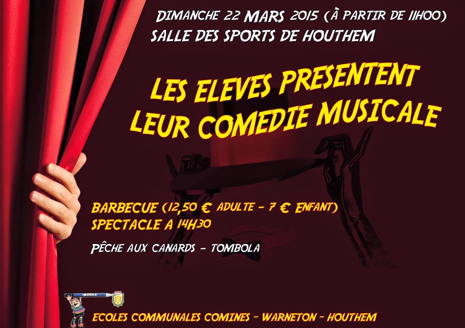 22 mars HOUTHEM Salle des Sports repas et comédie musicale par les écoles communales.