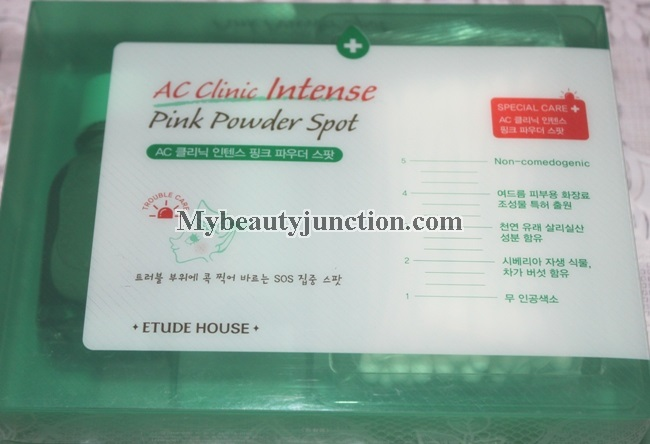 Etude House AC Clinic Intense Pink Powder Spot acne treatment kit review, usage, photos