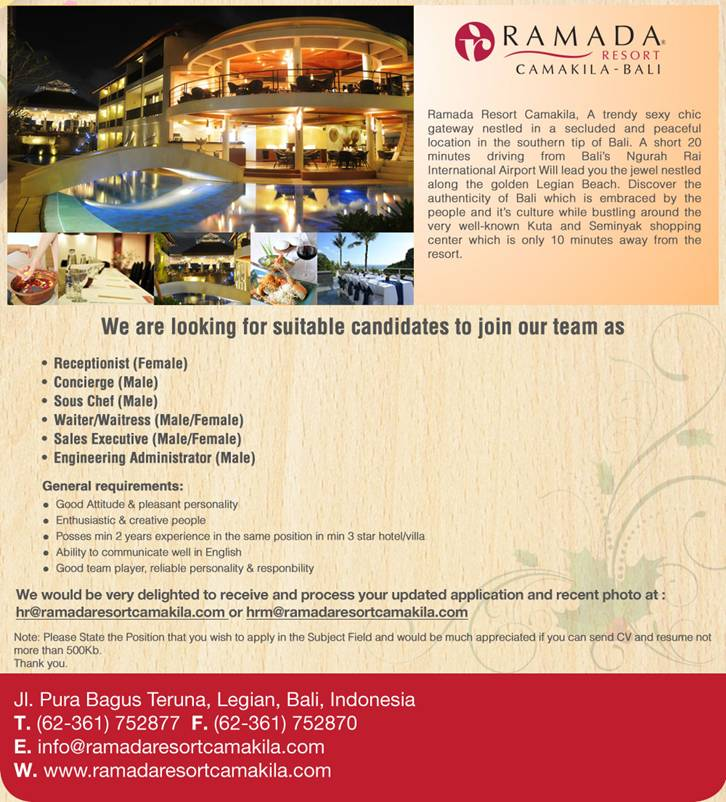 Job Opportunity at Ramada Camakila Bali 2013