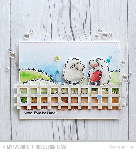Wool Ewe Be Mine Card by Yoonsun Hur featuring the Birdie Brown Ewe Are the Best stamp set and Die-namics, and the Prairie Fence and Blueprints 25 Die-namics #mftstamps