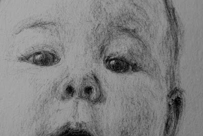 retrato, bolígrafo negro, le frère