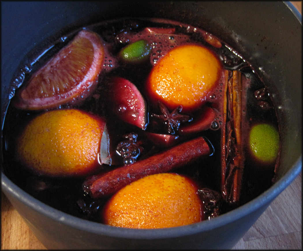 ... to heat the mulled wine mixture gently, never letting it boil
