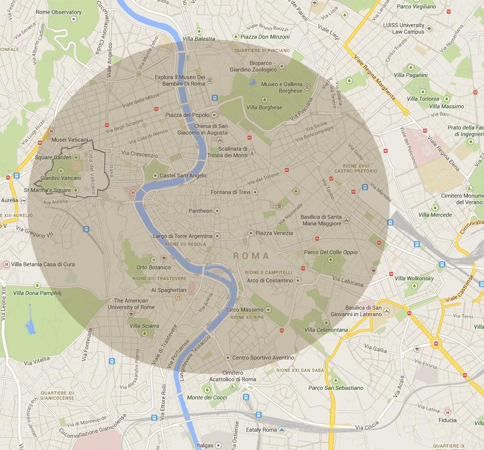 Delimitación zona visitable de roma